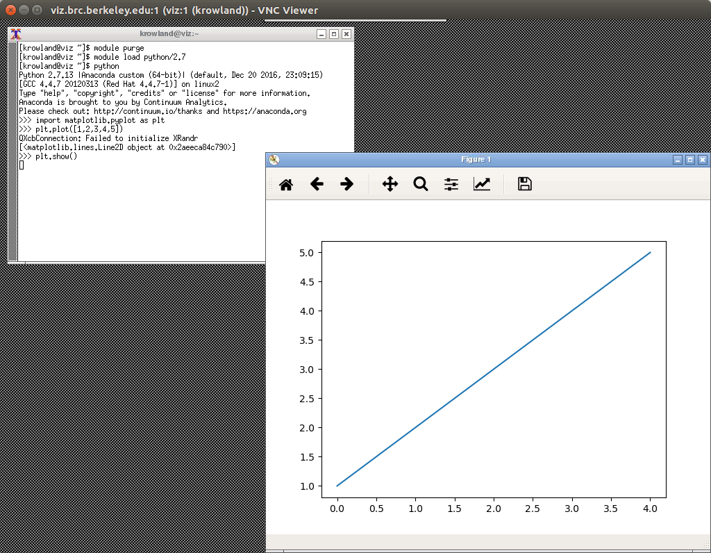 Python matplotlib commands and window